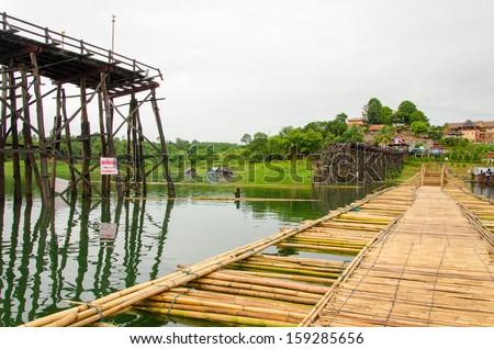 Longest  wooden bridge it broken in Thailand.