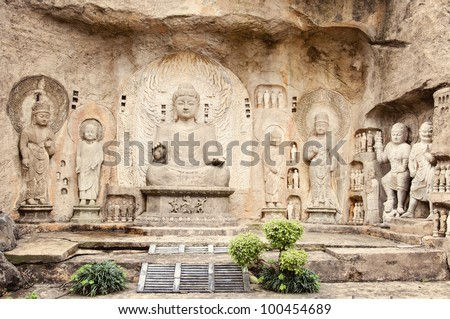 Longmen Buddha Statues - stock photo