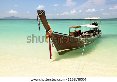 Longtail Boat in Phi-Phi Island Phuket Thailand