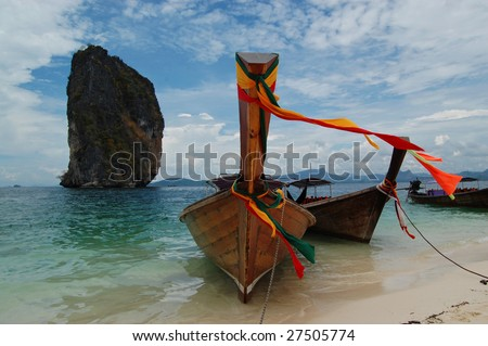 Longtail boats on Poda island, Thailand