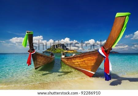 Longtail boats, Tropical beach, Tub Island, Andaman Sea, Thailand