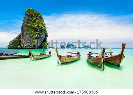 Longtale boat at the beach, focus on the boats