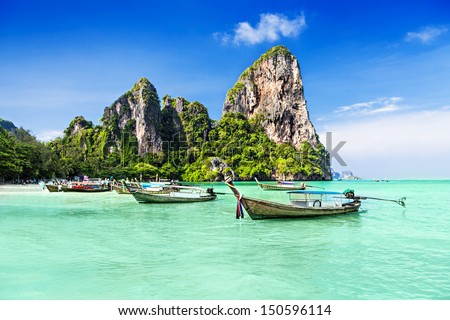 Longtale boats at the beautiful beach Thailand