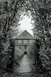 lonley path leads to an old house