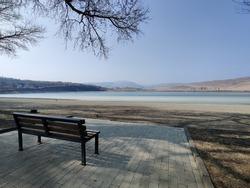 Lonley seat near a lake in Georgia