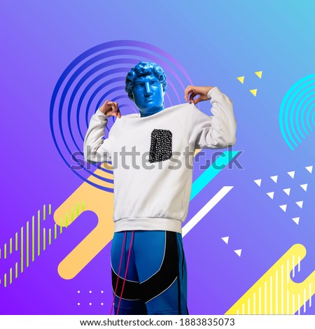 Look at me. Stylish man headed by bright statue on fluid neon background. Negative space to insert your text. Modern design. Contemporary colorful and conceptual bright art collage.