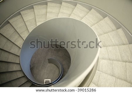 Look down a modern spiral Staircase