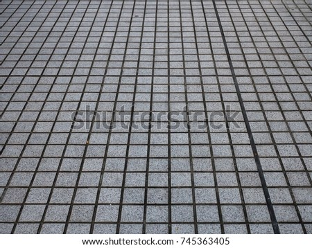 Look down at Japan footpath titles - Grey small rectangle block orderly align. #745363405