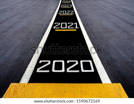 Look forward and move to the futuer, start to new year two thousand twenty (2020), painted on a runway of an aircraft carrier
