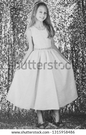 Look, hairdresser, makeup. Little girl in fashionable dress, prom. Child girl in stylish glamour dress, elegance. Fashion and beauty, little princess. Fashion model on silver background, beauty. #1315958486