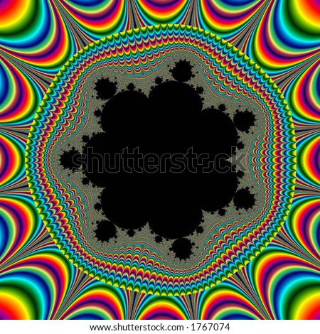 Look into black fractal cente to see all color vibrate: it\'s an optical illusion!