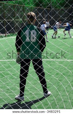 look on goalie through the net