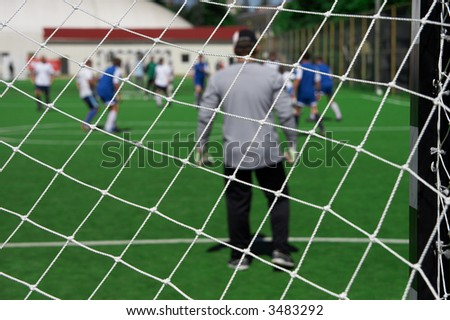 look on goalie through the net