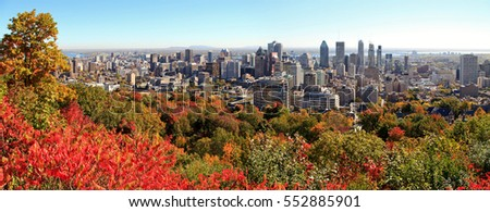 Look onto the skyline from Montreal in Canada