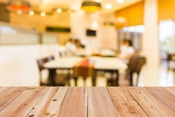 Look out from the table, blur image of inside the restaurant as background.