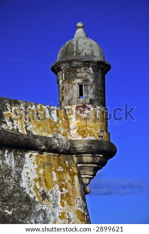 Look out on the walls of El Morro in Puerto Rico