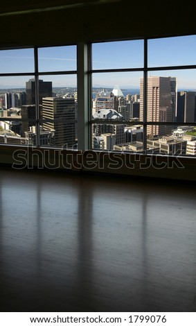 look through a window, downtown vancouver
