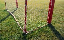 Look through net to football field in soccer stadium. Soccer field with green grass in football sport stadium behind net curtain. Sport equipment, football gate