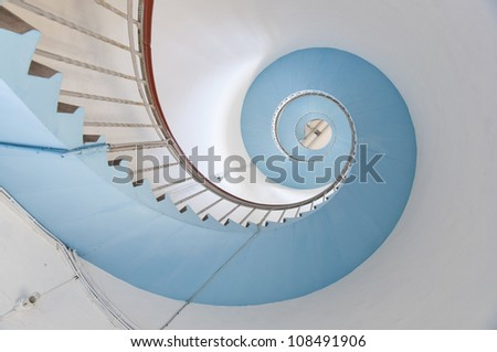 look up to the blue spiral staircase of Lynvig Lighthouse, N�¸rre Lyngvig, Jutland, Denmark, Europe