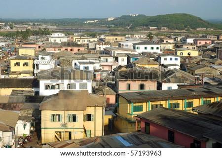 Looking across Elmina houses in Ghana