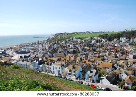 Looking across the Old Town area from the top of the East Hill at Hastings in East Sussex, England.