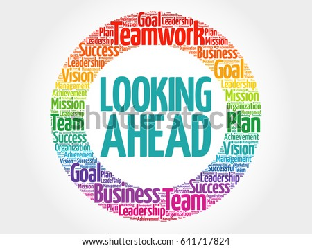 Looking Ahead circle word cloud, business concept