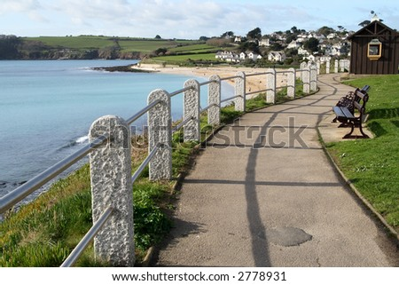 Looking along the path to Gyllyngvase Beach, Falmouth, Cornwall.