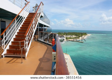 Looking at a pier in Grand Turk Bahamas from the deck of a cruise ship