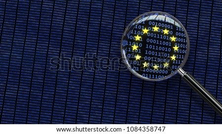 Looking at European Union GDPR bits and bytes through magnifying glass. 3D illustration