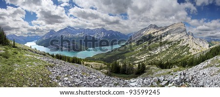 Looking at Spray Lake from the South West facing slope of Windtower, Near Canmore, Alberta, Canada. Mount Rimwall on right side.
