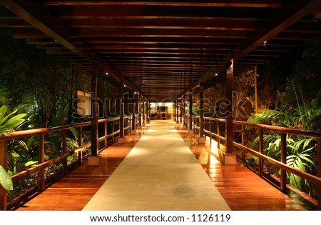 Looking down a covered bridge at night in the jungle - stock photo
