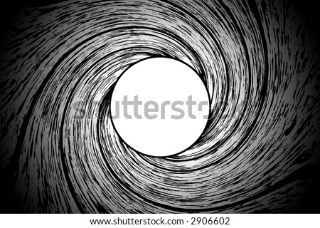 Looking down a from inside a gun barrel