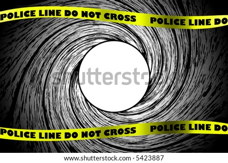 Looking down a from inside a gun barrel with police line