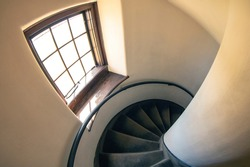 Looking down a spiral staircase with a fisheye lens