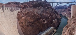 looking down and over the hoover dam