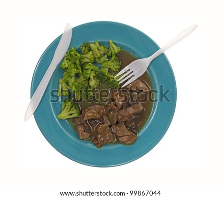 Looking down at a beef and broccoli lean meal.