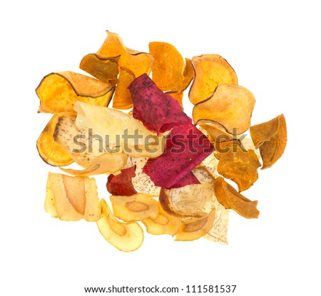 Looking down at a group of vegetable chips.