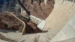 Looking down at Hoover Dam into the Colorado river