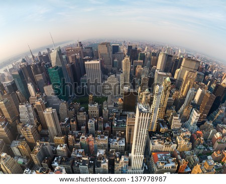 Looking down at New York City, North direction to the Central Park, wide angle #137978987