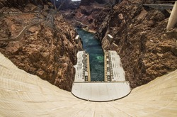 Looking down Hoover Dam at the Colorado River