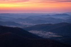 Looking down into the valleys of the Virginian Piedmont around Shenandoah National Park.