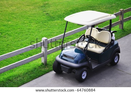 Looking down on a golf cart