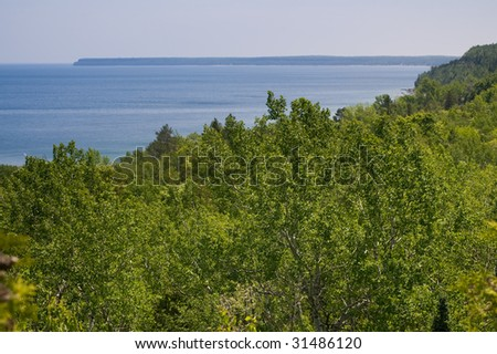 Looking down on a lush green forest, with Georgian Bay in the distance,  taken along the Niagara escarpment in the Bruce Peninsula, Ontario, Canada