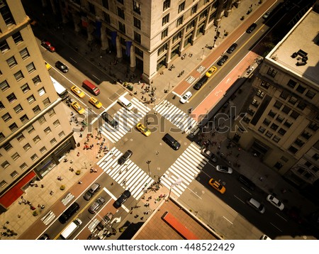 looking down on skyscrapers and ...