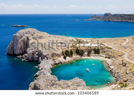 Looking down onto St Paul's Bay at Lindos on the Island of Rhodes Greece