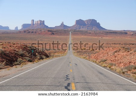 Looking down the road in Monument Valley, Utah