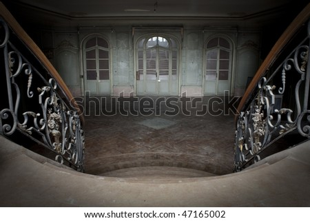stock photo Looking down to an old vintage ballroom