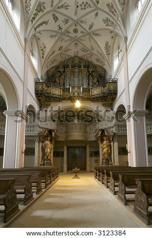 Looking down toward the organ from the altar of St. Michael's Church in Bamberg, Germany.