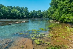 Looking downstream wide angle view of the Chattahoochee river with people fishing and Canadian geese in the water in the distance on a bright sunny day in late spring