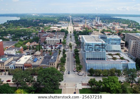 Looking East over downtown Madison, Wisconsin. Includes East Washington Avenue, Lake Monona (right) and Lake Mendota (left). Picture taken from on top of the capitol building.